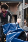 """FRINGE: Astrid (Jasika Nicole) inspects a victim in the FRINGE Season Four premiere episode """"Neither Here Nor There"""" airing Friday, Sept. 23 (9:00-10:00 PM ET/PT) on FOX. ©2011 Fox Broadcasting Co. CR: Liane Hentscher/FOX"""
